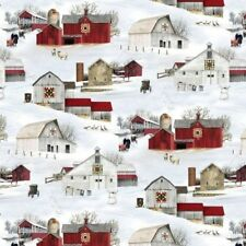 Headin' Home Amish Buggies Country Barns in the Snow Cotton Fabric Fat Quarter
