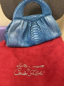 Carlos Falchi Phyton Handbag, NWOT, Blue Snake Skin