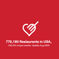 USA Restaurant Database include Email, Phone, Website, Address - 2020 November