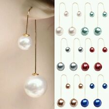 #1054 Women U-Shaped Double Sided Faux White Pearl Ball Drop Dangle Earrings