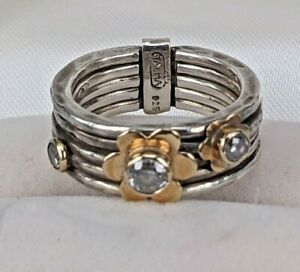 Talma Kashet New silver ring with 9ct gold flowers set with clear stones UK: N