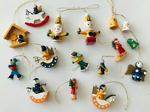 16 Mini Wood Christmas Ornaments Angels Bells Horses Skiers Santas Stable Star