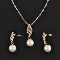 Mode Elegant Schmuck Set Strass Perlenkette Ohrringe Hochzeit Braut Dekor