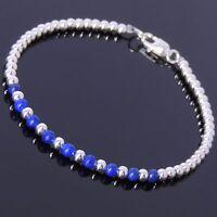 Modern Silver Bracelets Natural Lapis Gemstones Raw Energy Throat Chakra Stones