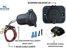 12V-24V Waterproof Car Cigarette Lighter Socket + 1M Cable Ring 15A + Plate