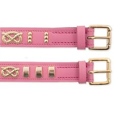Ancol Heritage Bull Terrier Leather Dog Collar Staffs Knot Pink 25mm X45-54cm