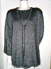 KATHIE LEE Woman Black Gray Metallic Knit Sweater w/Under Top sz. 18W/20W new