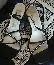 """Kim Rogers Glitter 7 1/2 M Black Satin Rhinestone Strappy Sandal 3"""" Heel LN"""