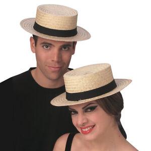 Straw Skimmer Hat Gondola Barbershop Quartet Sailor Gondolier Amish Costume Cap