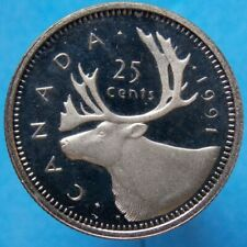 Canada Canadian 25 Cent Coin 1991 - Key Date - Proof Heavy Cameo