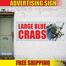 LARGE BLUE CRABS Advertising Banner Vinyl Mesh Decal Sign fresh seafood shrimp