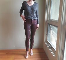 New Level 99 Burgundy Coated Skinny Womens Jeans Size 4