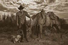 Barry Hart End of the Trail Western Horse Cowboy Grave Print Poster 26x18