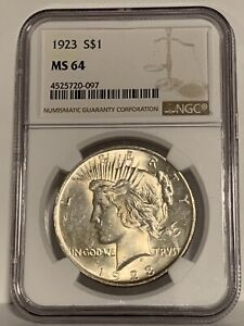 1923 $1 Peace Dollar 90% Silver NGC MS64