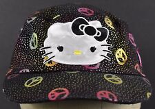 Black Hello Kitty Peace Signs Logo Girls Kids Cadet hat cap Fitted