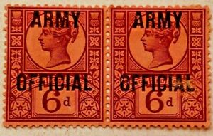 GB QV 1886 6d Purple Army Officials PAIR  SGO45 Used