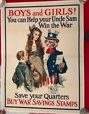 UNCLE SAM- ORIGINAL 1917- WIN THE WAR POSTER, DESIGNED BY JAMES M FLAGG, 30X 40