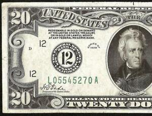 1928 $20 DOLLAR BILL NUMERICAL 12 GOLD ON DEMAND FEDERAL RESERVE NOTE MONEY