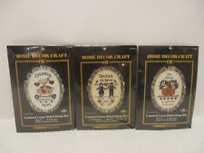 """(3) 31/2"""" x 5"""" COUNTED CROSS STITCH HOOP KITS NEW IN PACKAGES (SEE DESCRIPTIONS)"""