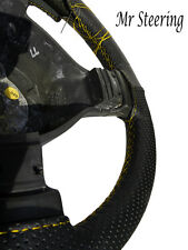Traforata nero in pelle Volante Copertura per la FIAT DOBLO 00-09 Yellow Stitch