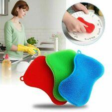2pcs Silicone Dish Washing Brush Pot Pan Scrubber Kitchen Cleaning Pad Tool UK