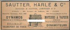 Publicité Sautter Harlé & Cie Dynamo moteur à vapeur