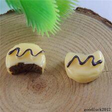 20pcs Yellow Resin Chocolate Cake Sandwich Flatback Cabochon Decor Crafts 50853