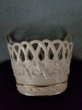 Lenox Ivory Porcelain Bowl Lattice Handles Classic Basket Gold Trim New