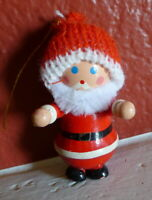 Santa Claus Wooden Christmas Ornament 1984 vintage Knit Hat