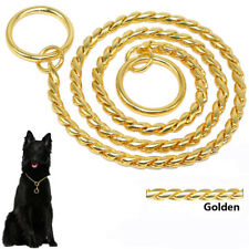 Dog Chain Collar Heavy Duty Slip P-Choke/Check Training Snake Show Collars Gold