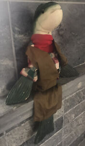 RUSTIC Wood Trout Fisherman Shelf Sitter Hand Carved DECOR FOLK NOVELTY - AS IS