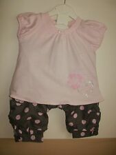 Les bebes cotton  short sleeved pink top & spotted grey trousers age 9 months