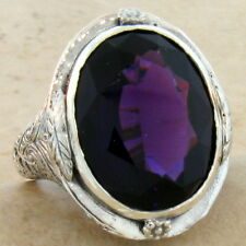 HUGE 13 CT LAB AMETHYST 925 STERLING SILVER VICTORIAN DESIGN RING SIZE 9, #578