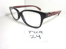 New PORTA ROMANA Eyeglass Frame 1402 500 Black Wood Temples Italy Unisex TUR-24