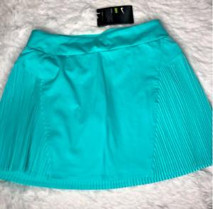"""Nike Women's Dri Fit Flex Golf Skirt Statement 15"""" Skort Light Aqua Size Small"""