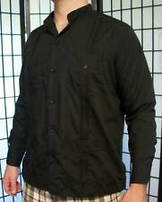 Men's black guayabera style cigar lounge barber shop dude bowling Renato shirt L