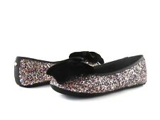 Kate Spade S182235 Sussex Black Velvet Multi Plush Glitter Flat Slipper Size 7