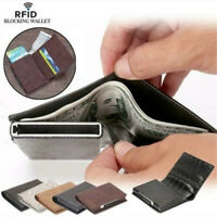 Mens Leather Wallet Purse Credit Card Clip Holder RFID Blocking Protection Safe