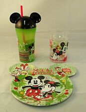 Disney Mickey and Minnie Mouse Christmas Plate with 2 Tumblers