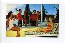 Kiamesha Lake NY Sullivan County postcard, men skis, women bathing suits, pinups