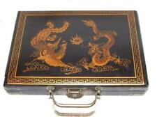 Chinese wood leather Dragon&Phoeni MahJong Set Box
