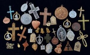 Vintage Catholic Medals Medallions Religious Cross Charms Mix 40 Pieces