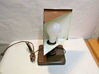 "vintage Corner Brown Metal Table Lamp that is in good working shape - 9.5""x5.5"""