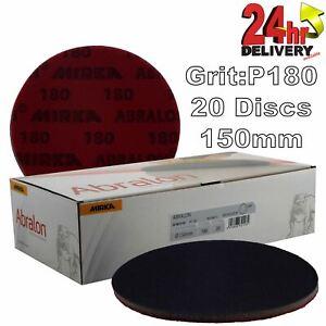 """Mirka Abralon 150mm 6"""" P180 Grit 20x HookNLoop Foam Fine Finishing Discs Pad"""