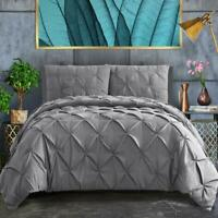 ASHLEYRIVER 3 Piece Luxurious Pinch Pleated Twin Duvet Cover Grey with Zipper &