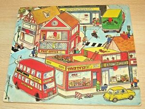 Vintage Wooden PLAY TRAY Jigsaw Puzzle OLD - unknown maker - SHOPS/ BUS etc