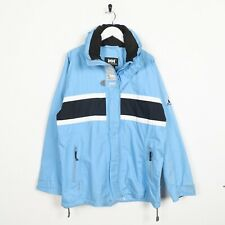 Vintage HELLY HANSEN Sleeve Logo Hooded Rain Coat Jacket Pale Blue | Medium M