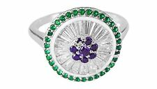 Suffragette-Styled, Sterling Silver Domed Costume Ring Suffragettes Band