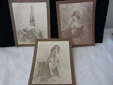 R. Hendrickson Lot: 3  SEPIA PRINTS  Nude Lady on Settee / 4 Different Poses