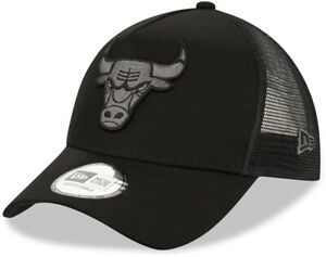 Chicago Bulls New Era NBA Team Black A-Frame Trucker Cap